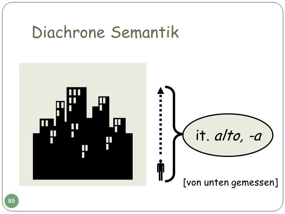 Diachrone Semantik  it. alto, -a  [von unten gemessen]